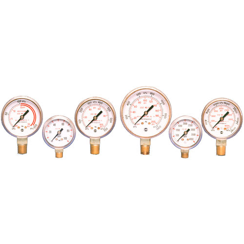 analog pressure gauge / Bourdon tube / process / for compressed gas