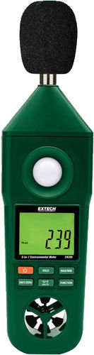 multi-function meter: temperature, air velocity, relative humidity, light meter and sound level meter