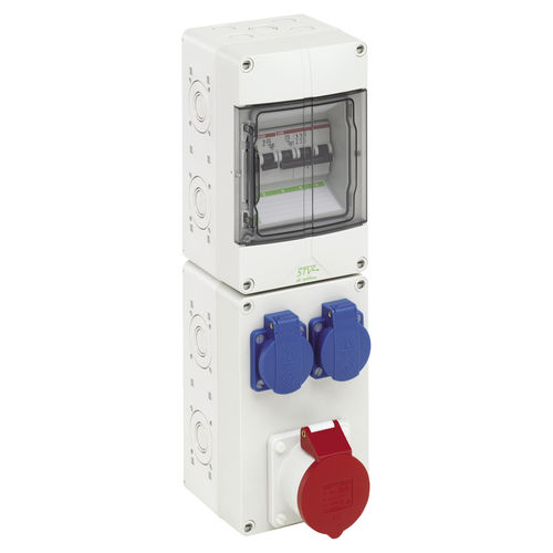 equipped electrical enclosure / polycarbonate / power distribution / with electrical socket