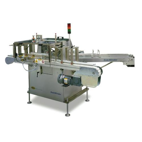 automatic labelling machine / hot-melt glue / for bottles / side