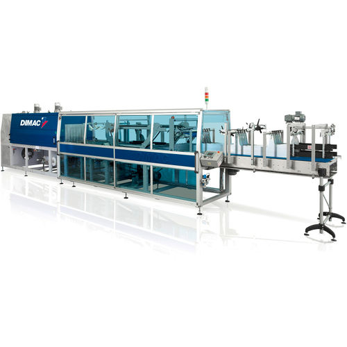 automatic shrink wrapping machine / for bottles / for heat-shrink films / continuous-motion