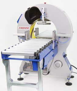 orbital wrapping machine / automatic / with motorized roller conveyor / stretch film