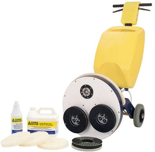 three-brush floor scrubber