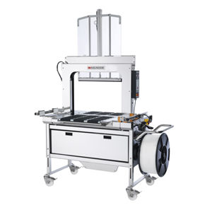 stainless steel strapping machine / fully-automatic / for corrugated cartons / for cardboard boxes