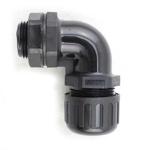 screw-in fitting / 90° angle / plastic / sealed