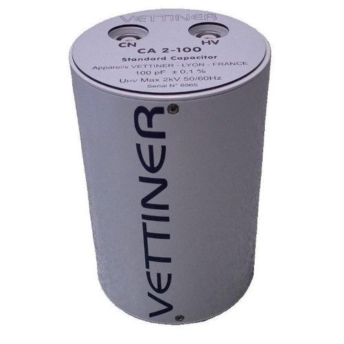 cylindrical capacitor / reference / medium-voltage / dissipation factor