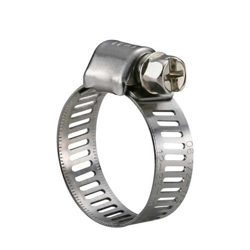 stainless steel hose clamp / worm / perforated band / micro