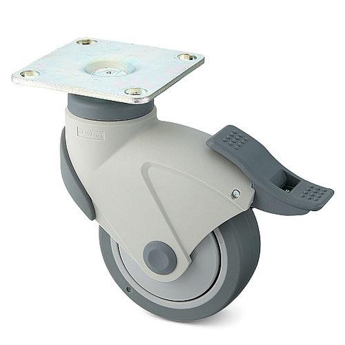 swivel caster / rod / ball bearing / with brake