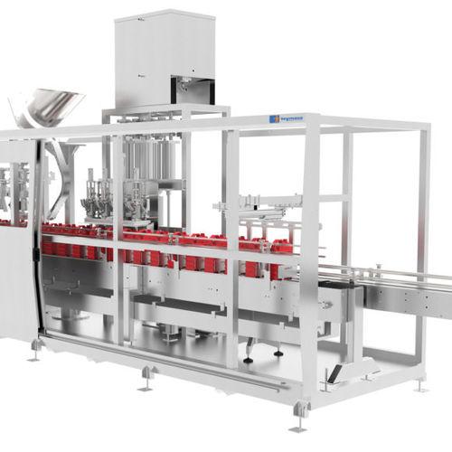 volumetric filling machine / liquid / bottle / can