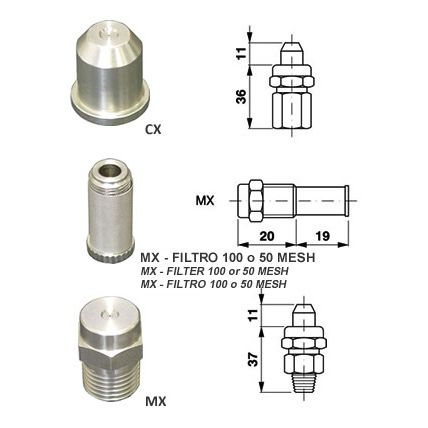 atomizing nozzle / for liquids / hollow-cone / stainless steel