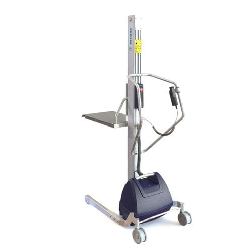 fork lifting device / battery-powered / with tray / for containers