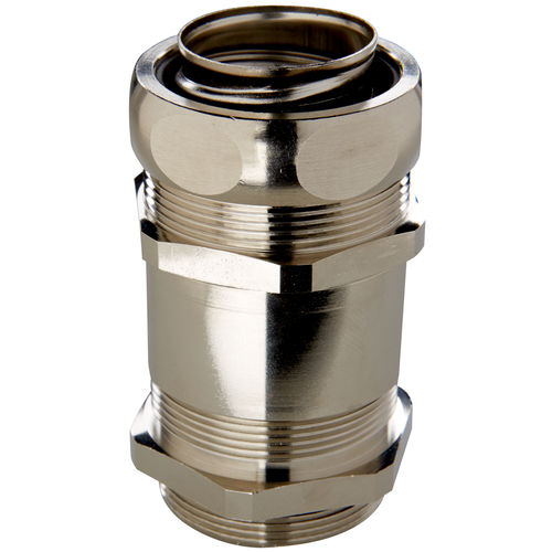 screw-in fitting / straight / nickel-plated brass / security