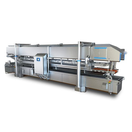 continuous industrial fryer / meat / electric / stainless steel
