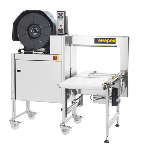 fully-automatic strapping machine / for the pharmaceutical industry / for the food industry / stainless steel