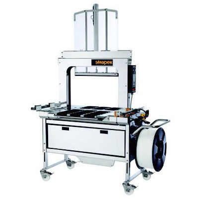 automatic strapping machine / for the pharmaceutical industry / for the food industry / with press