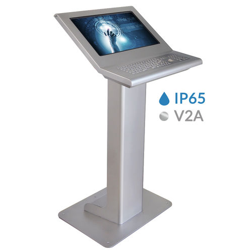 multitouch screen operator terminal / with keyboard / floor-standing / kiosk