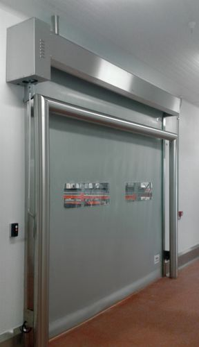 high-speed door / sectional / metal / glass