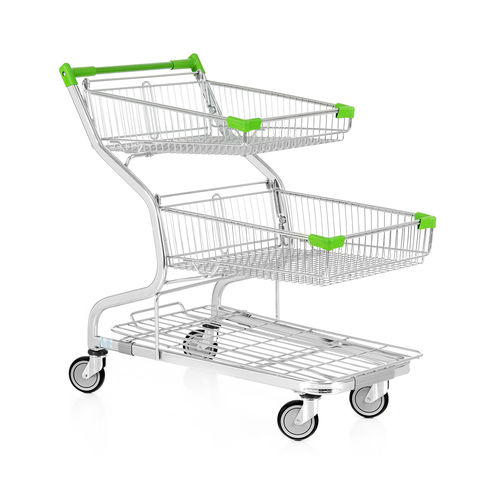 shopping cart / metal / 2 levels / wire mesh platform