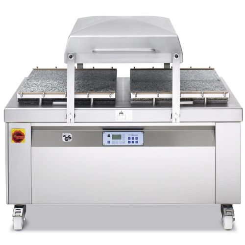 semi-automatic packing machine / vacuum / double-chamber / for the food industry