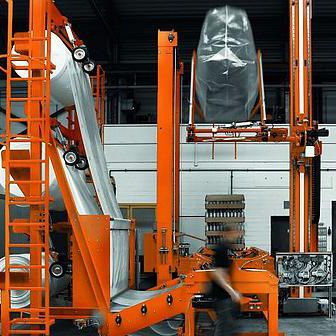 shrink film hood machine / automatic / for glass bottles / for glass containers