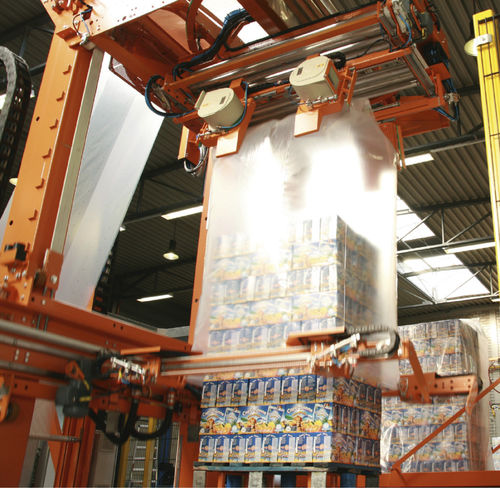 shrink film hood machine / automatic / for building materials / for paper