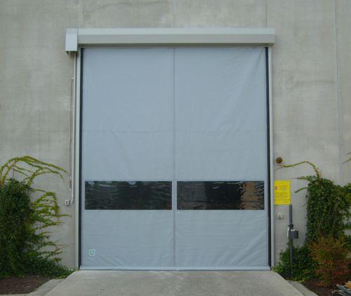 self-repairing door / roll-up / metal / stainless steel
