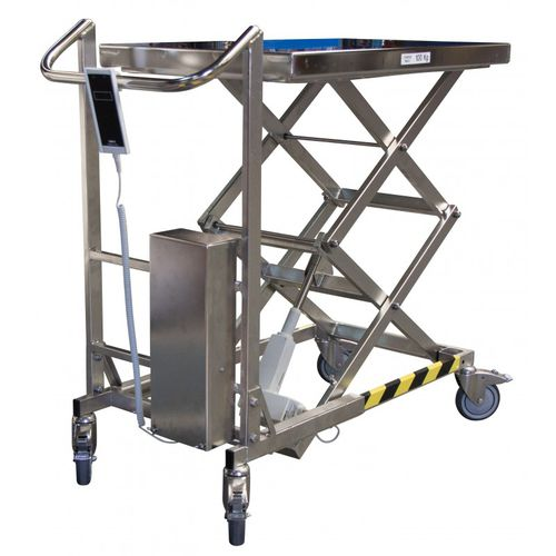 double-scissor lift table / electric / mobile / loading