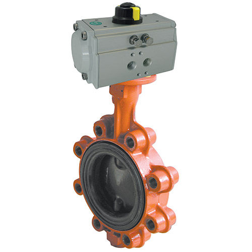 Butterfly valve / pneumatically-operated / lug type / cast