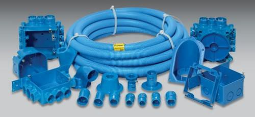 tubular conduit / for cables / for electrical cables / plastic