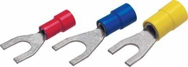 fork solderless terminal / tubular / insulated / copper