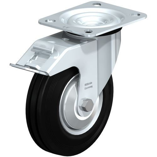 swivel caster / base plate / ball bearing / low-noise