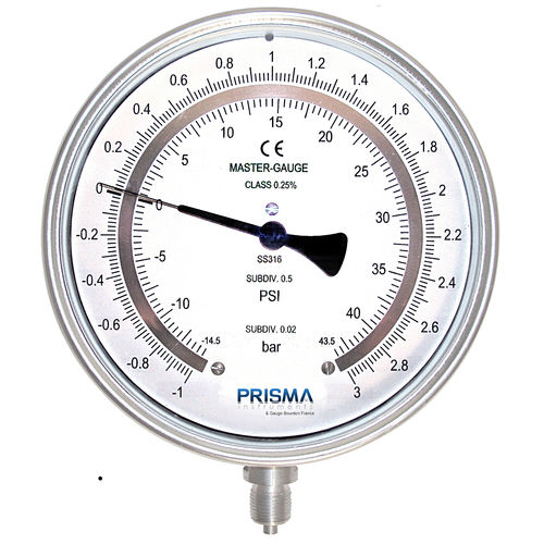 dual-scale pressure gauge / Bourdon tube / laboratory / calibration