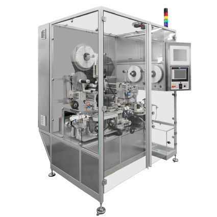 automatic labeling system / vision system / compact / for the pharmaceutical industry