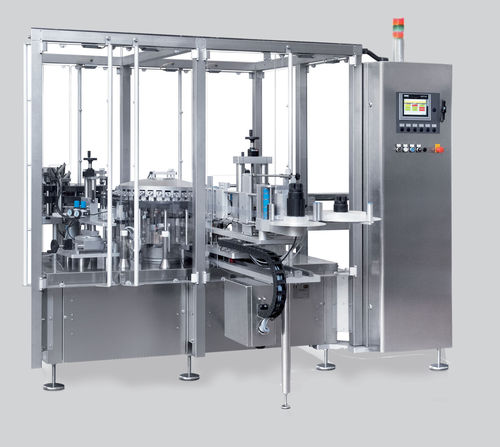 automatic labelling machine / high-speed / rotary / side