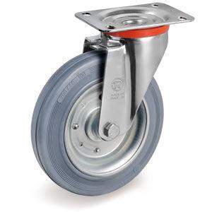 swivel caster / base plate / non-marking / pressed steel