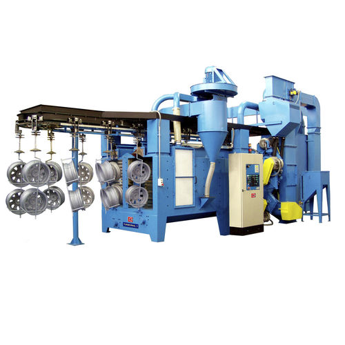 suspended load shot blasting machine / for wheel rims / automatic / continuous