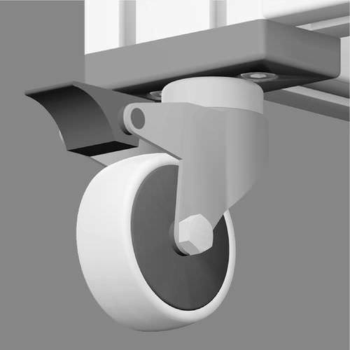 swivel caster / base plate / zinc-coated steel / rubber