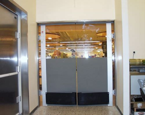 swing door / polycarbonate / for the food industry / industrial