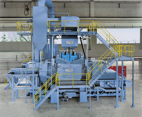 bulk material shot blasting machine / continuous / automatic / sheet metal