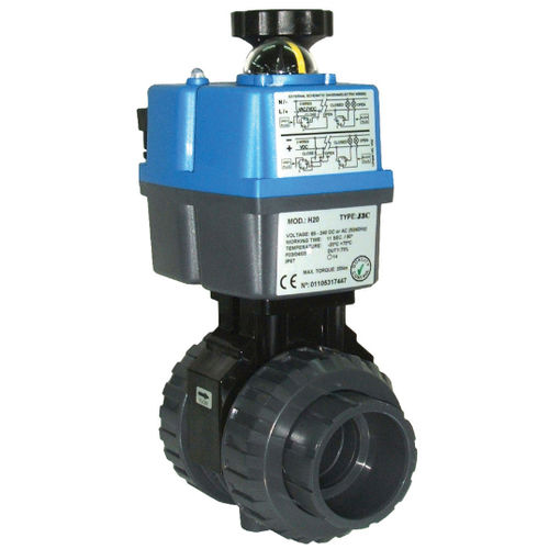 ball valve / electrically-operated / flow control / PVC