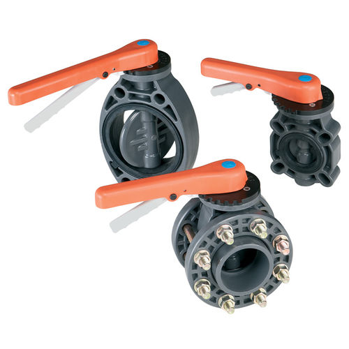 butterfly valve / lever / flow control / in plastic
