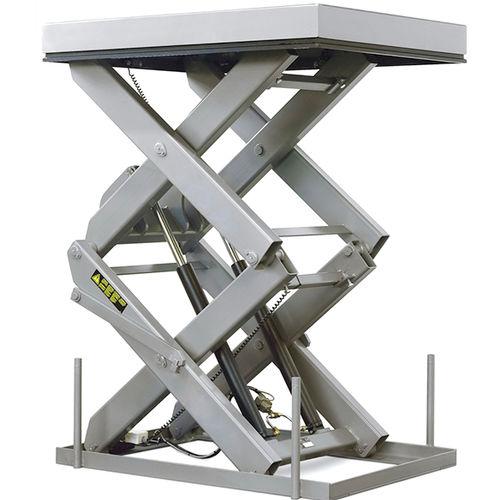 double-scissor lift table / hydraulic / stationary / loading dock