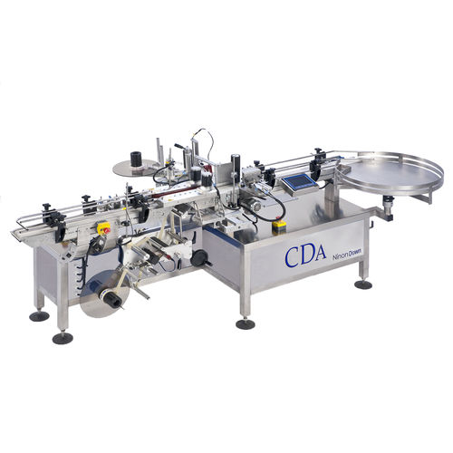automatic labeler / for self-adhesive labels / linear array / bucket