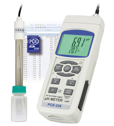 portable pH meter / process / with LCD display / with redox indicator