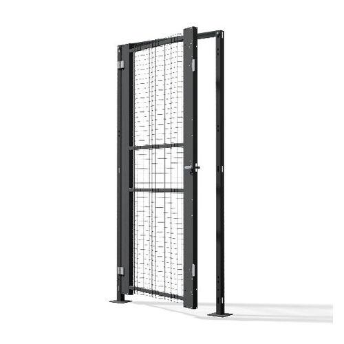 access door / swing / metal / wire mesh