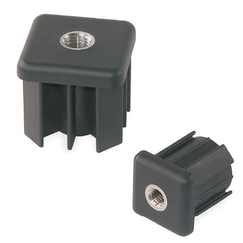 square plug / threaded / polyamide / stainless steel