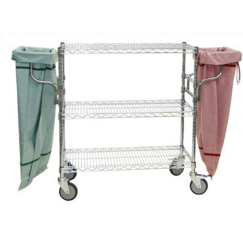 storage cart / steel / 3 levels / wire mesh platform