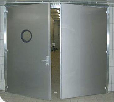 swing door / stainless steel / indoor / industrial