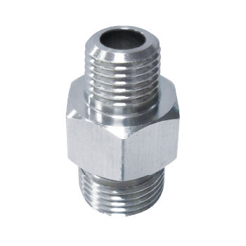 stainless steel nipple / brass / threaded / hexagonal