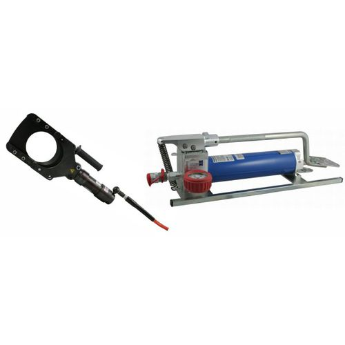 portable cable cutter / hydraulic / safety / with foot pump